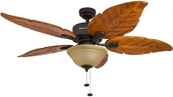 Honeywell Sabal Palm 52-Inch Tropical Ceiling Fan with Sunset Bowl Light