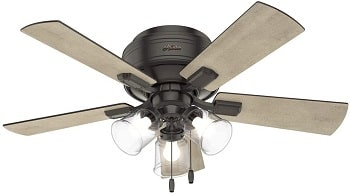 Hunter Crestfield Low Profile Ceiling Fan with Bright LED Light