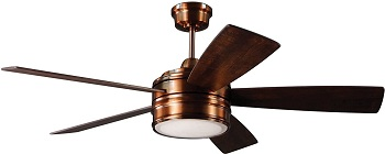 Craftmade BRX52BCP5 Braxton Brushed Copper Ceiling Fan with LED Light