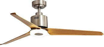 FINXIN Brushed Nickel Indoor Flush Mount Ceiling Fan With Light
