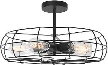 Kira Home Gage 5 Light Vintage Semi-Flush Mount Ceiling Fan