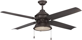 Craftmade Wet Rated Outdoor Ceiling Fan with CFL Light