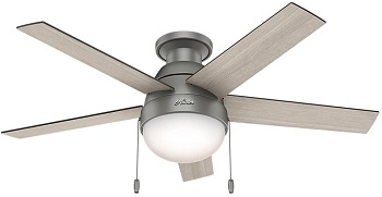 Hunter Anslee Indoor Low Profile Ceiling Fan with LED Light