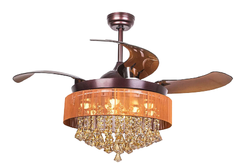 <strong>Parrot Uncle Crystal Ceiling Fans with Lights with Retractable Blades</strong>
