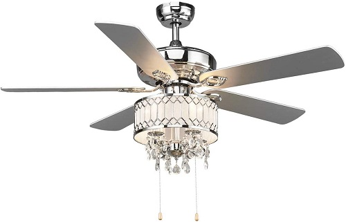 <strong>Tangkula Elegant Crystal Ceiling Fan with Pull Chain Control</strong>