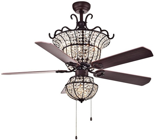 <strong>Warehouse of Tiffany Charla 4-Light Crystal Chandelier Ceiling Fan</strong>
